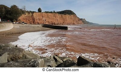 Sidmouth beach and coast Devon east - Sidmouth beach and...
