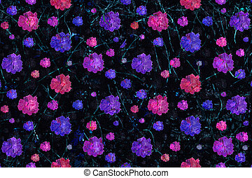 Grunge Floral Print Seamless Pattern - Digital collage and...