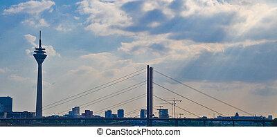 Dusseldorf - View of Dusseldorf bridge and Rheinturm