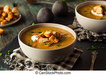 Homemade Hot Butternut Squash Soup with Toppings