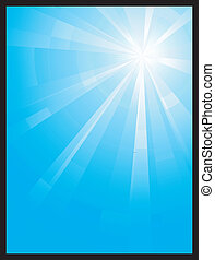 Blue vertical assymetric light burst - Asymmetric blue light...