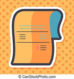 shopping credit card bill flat icon with long shadow