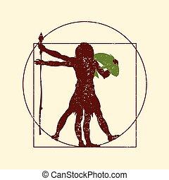 vitruvian caveman