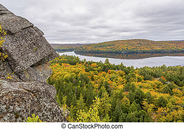 Algonquin Provincial Park in Fall - Outcrop of Precambrian...