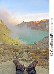 Kawah Ijen crater in East Java, Indonesia