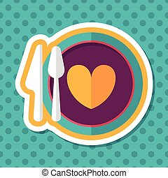 Valentine's Day dinner flat icon with long shadow,eps10