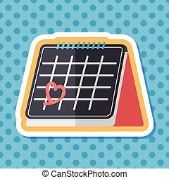 Valentine's Day February fourteen calendar flat icon with...