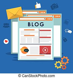 Blog, blogging and blogglers theme design, vector...