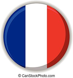 France French button flag - Vector illustration of France or...