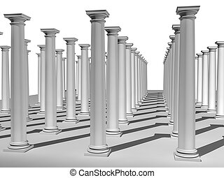 monochromic image of classic columns - 3d rendered...