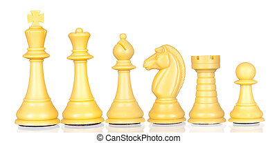 White chess pieces in order of decreasing isolated on white...
