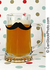 Social Mustache on beer stein against a polka dot...