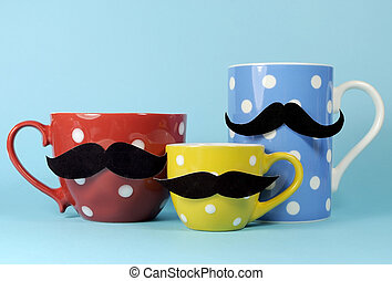A family of mustaches on blue, red and yellow polka dot...