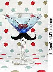 Posh Mustache on blue vintage martini cocktail glass with...