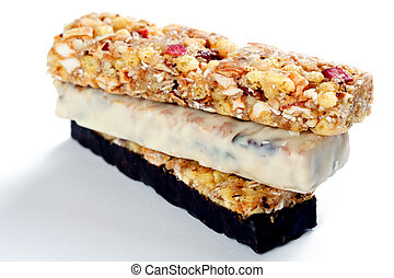 muesli bars - photo shot of muesli bars on white background