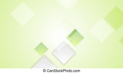 Light green bright abstract squares tech video animation. Seamless loop design