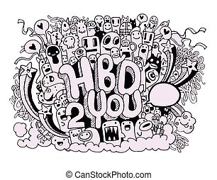 Birthday party hand drawn doodles elements background