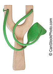 simple wooden slingshot with green rubber band