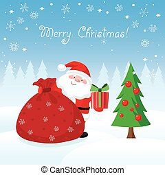 Santa Claus with gifts Christmas card