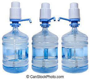 set of Drinking Water bottles with pump dispensers - set of...