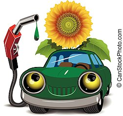 Biofuels - Illustration of a green car fueling and sunflower
