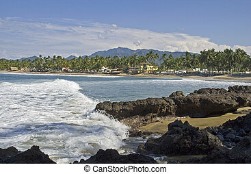 Pacific Ocean cove and beach in Nayarit, Mexico - Gentle...