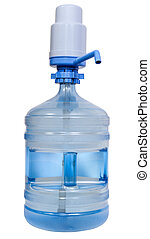 Drinking Water bottle with manual pump dispenser isolated on...
