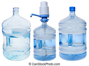 set of5 gallon Drinking Water bottles - full, empty and...