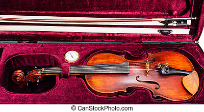 classic violin with bow in red velvet case - old classic...
