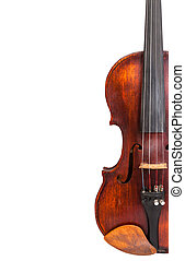 half of old fiddle isolated on white and copyspace