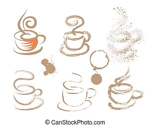 coffee cups made of stains. vector