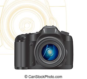 camera symbol with abstract lines on background