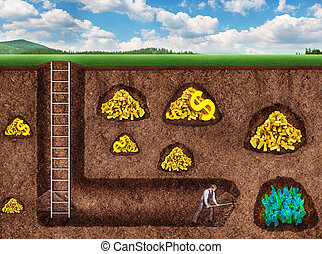 Businessman digs a tunnel to treasure - Businessman digs a...