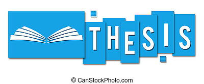 Thesis Blue Stripes With Book Icon - Thesis text written...