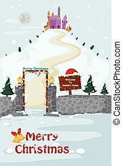 Santa's House in Merry Christmas holiday greeting card background