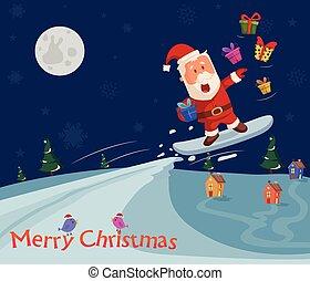 Skiing Santa at Merry Christmas holiday greeting card background