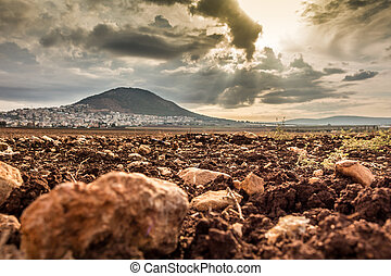 Tabor Mountain and Jezreel Valley in Galilee, Israel - Tabor...