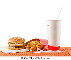 Fast food set of fried potatoes, burger and cola Isolated on...