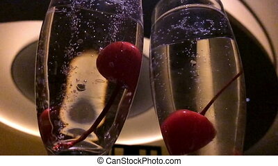Cherries in Champagne Slow Motion - Cherries in Champagne...