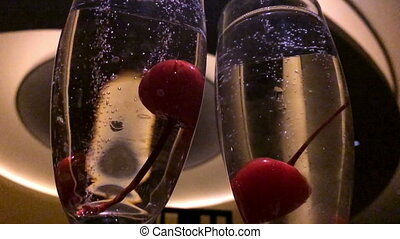 Cherries in Champagne Glasses Timelapse