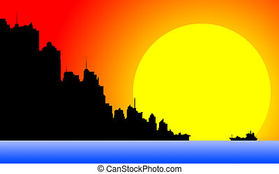 Downtown cityscape at sunset - Silhouette of a downtown...