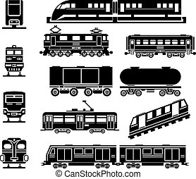 Passenger and public rail city transport black icon vector...