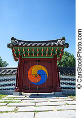 Traditional Korean gate at sunny day