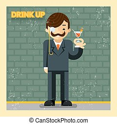 Drink up concept Cocktail alcohol, cheerful and smiling,...