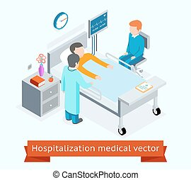 Hospitalization medical vector 3D isometric concept with...