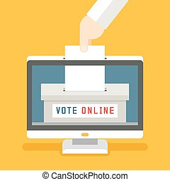 Online voting vector concept background. Remote and...