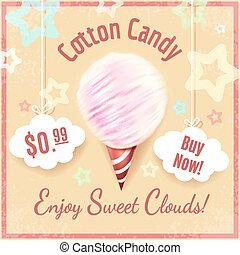 Cotton candy vector poster background with lettering. Sugar...