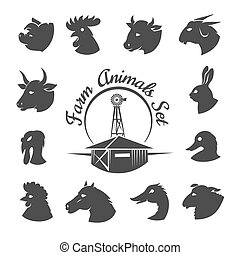Farm animal meat icons. Rooster and horse, rabbit and goat,...