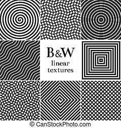 Hipster linear, grid and spiral vector background set
