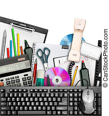 Office stationery - Set of office stationery with keyboard...